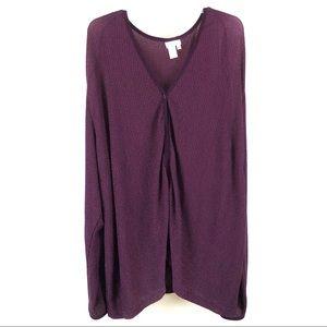 Coldwater Creek plus size purple knit cardigan